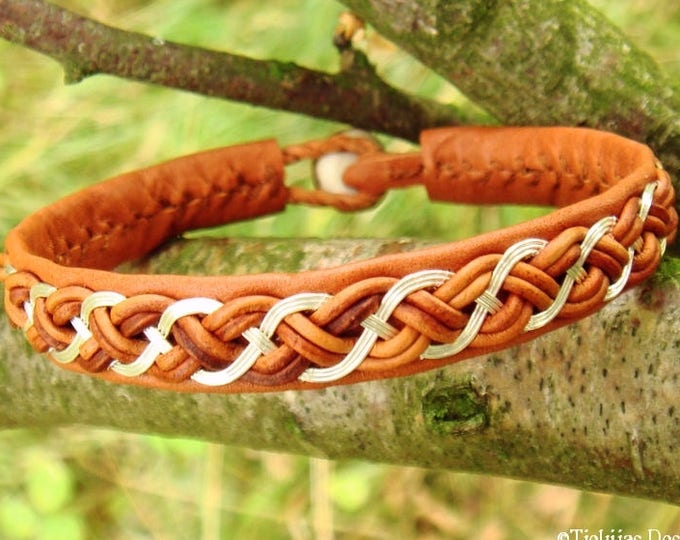 DRAUPNIR viking bracelet, sterling silver and cognac leather cuff in Swedish Sami style, handmade to Your wishes