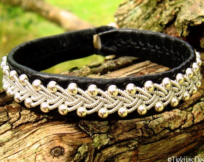 Sami pewter and leather bracelet, SKINFAXE viking cuff with sterling silver beads, custom handmade Scandinavian design