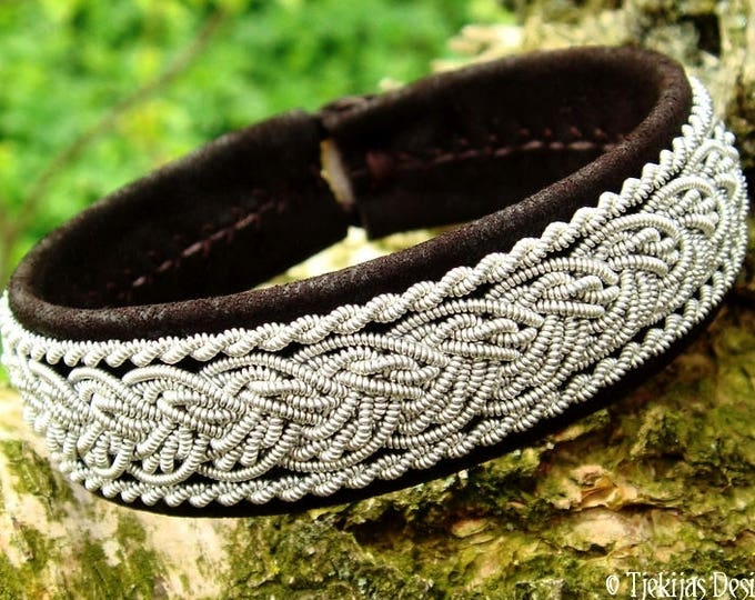 Norse lambskin viking bracelet cuff GRANI, Sami pewter decorated dark brown leather