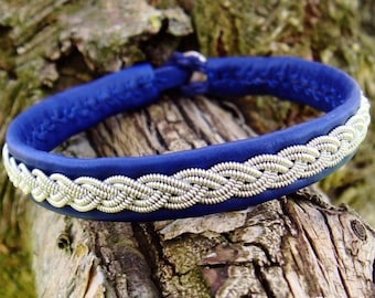 Blue leather cuff, LIDSKJALV handmade Swedish Sami bracelet for northmen and viking lady's