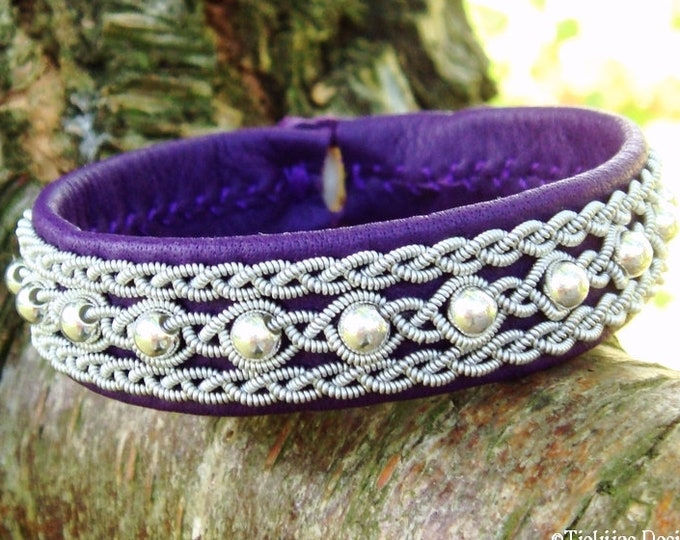 Swedish Sami Reindeer Leather Bracelet, YDUN Purple Cuff with Sterling Silver beads braided into Spun Pewter, Handmade Scandinavian Design