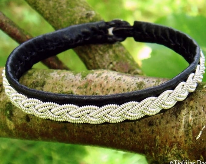 Handmade unisex leather and pewter viking Sami bracelet, LIDSKJALV cuff in black or 29 other colors