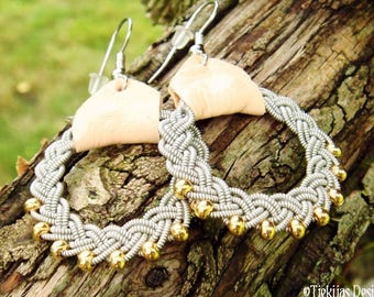 Sami earrings, RIMFAXE Lapland viking jewelry, handmade with 14k gold beads in pewter braids and natural leather