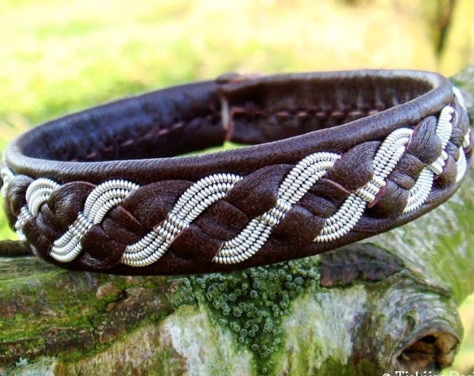 Viking bracelet, FENRIS WOLF Swedish Saami pewter and brown leather cuff, handcrafted nordic folklore jewelry in your size and color