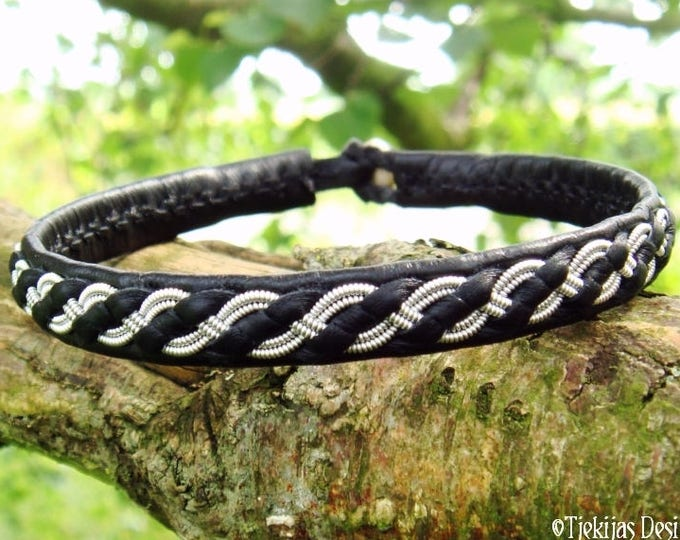 FENRIR viking bracelet, black leather tennarmband, Nordic folklore Sami cuff, choose between 30 colors