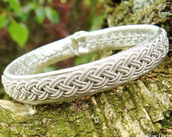 Silver Sami bracelet, ASGARD viking leather cuff with pewter braid, custom handmade to your size and choice of color