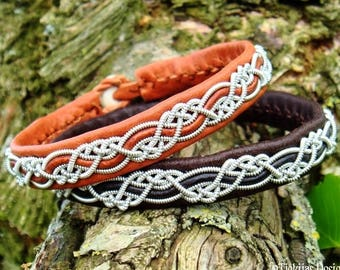 Custom handmade Sami viking bracelet for men and women, HUGINN cuff in bark tanned silk soft leather with pewter braid