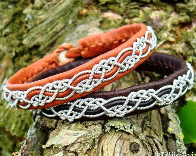 Custom handmade Sami viking bracelet for men and women, HUGINN cuff in bark tanned silk soft leather with pewter braid