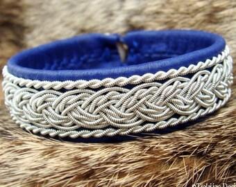 Swedish Viking Sami Pewter Lapland Leather Bracelet Cuff Bangle GRANI in Blue Reindeer Handmade for Men and Women