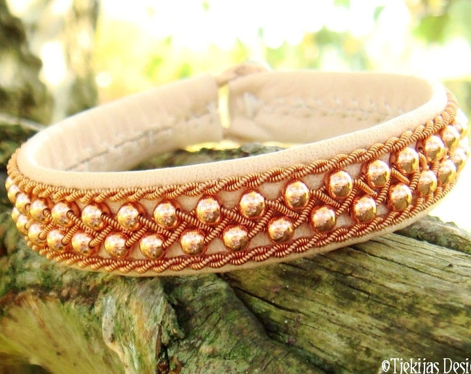 Viking Sami bracelet, ROSKVA handcrafted with copper in copper on natural reindeer leather