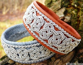 Norse Viking Bracelet BEOWULF Swedish Sami Cuff in Cognac Brown Reindeer Leather with Spun Pewter Braids - Nordic Natural Elegance