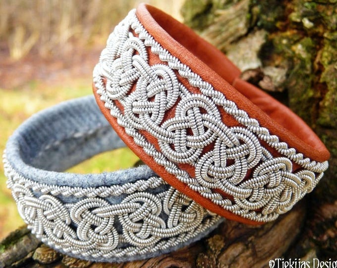 Norse viking bracelet, BEOWULF Swedish Sami cuff in cognac brown leather with pewter braids, handcrafted Danish design