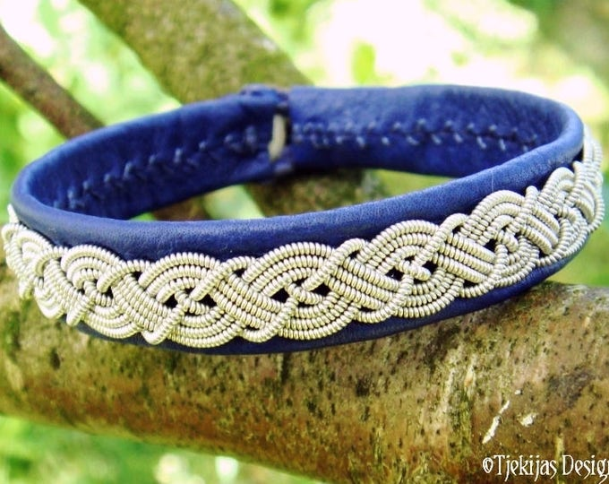 Sami bracelet MIDGARD, Swedish blue leather viking cuff for guys and girl, handmade with traditional Lapland pewter braid and antler