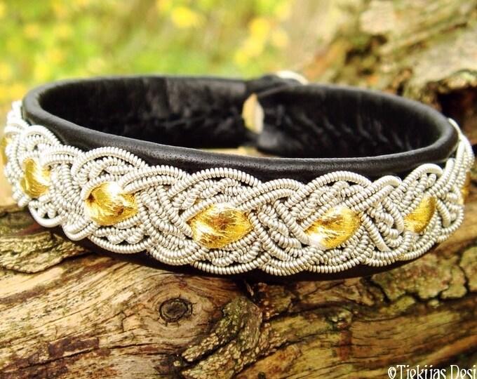 Viking Norse Bracelet Cuff in Black and Gold Reindeer Leather with Pewter braid ALFHEIM Custom Handmade Sami Bracelet