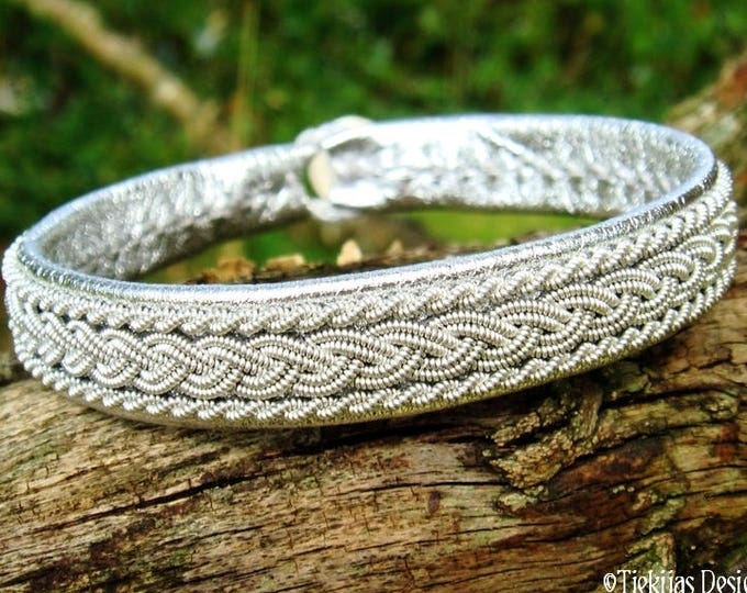 MJOLNIR Nordic Viking Silver Leather Bracelet Cuff for Guys and Girls - Handcrafted Saami Style in Your Size and Color