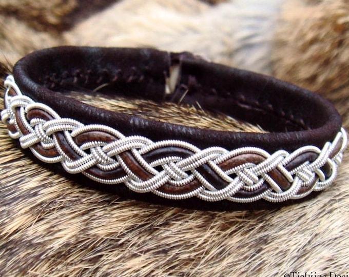 Sami bracelet NIFLHEIM, Lapland viking cuff bangle, in dark brown lambskin with pewter braid, handcrafted nordic jewelry
