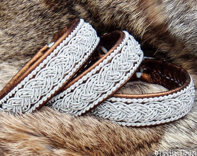 Lapland leather pewter Sami bracelet cuff with antler closure, GRANI in bronze lambskin, custom handcrafted Nordic elegance