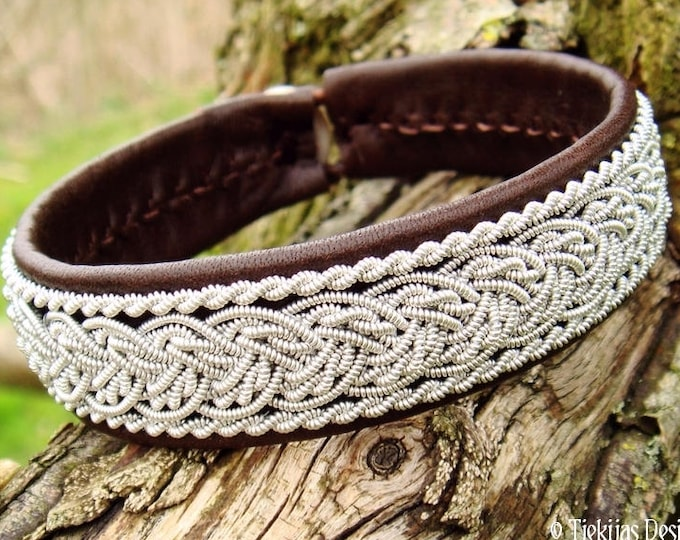 Viking Lapland leather pewter Sami bracelet, GRANI unisex antique brown leather cuff, handcrafted Nordic elegance in your size and color