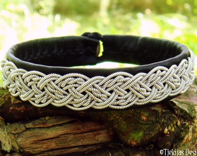 YGGDRASIL Sami Viking Bracelet Black Leather Cuff decorated with Pewter braid and Antler closure