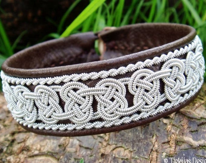 Lapland Sami bracelet, norse pagan leather cuff BEOWULF, for vikings and shield maidens, in antique brown deerskin with pewter braids