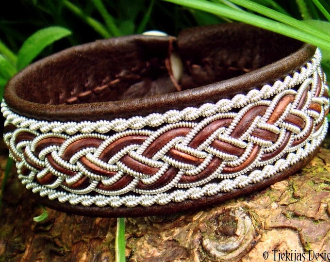 GIMLE viking Sami bracelet cuff in antique brown leather, decorated with pewter braids and antler closure