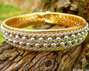 Swedish Viking Gold Leather Cuff ROSKVA Sami Bracelet with Sterling Silver Beads braided into Spun Pewter Braid