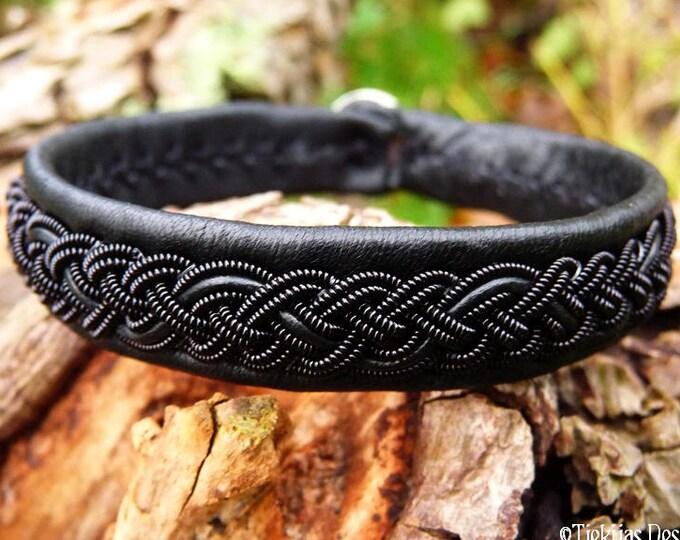 Gothic black viking bracelet, JORMUNGANDR black in black Sami leather cuff, handmade for real northmen and shieldmaidens :)