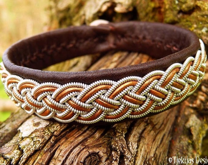 Unisex Custom Design Viking Bracelet | Saami Armband | FREKI Pewter and Bronze Brown Leather Cuff | Your Size and in 30 Colors