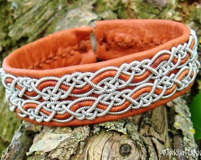 Lapland Sami bracelet, MUNINN viking cuff, cognac brown leather bangle, handmade Nordic pewter jewelry