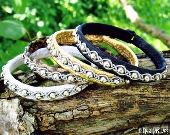 GJALL Nordic Viking Leather Bracelet with Sterling Silver beads in Pewter Braid and Custom Handmade to your Wishes