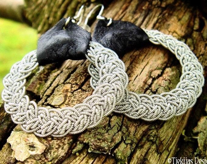 Swedish Sami earrings, VIMUR viking jewelry earrings, handmade filigree pewter braids with reindeer leather or lambskin