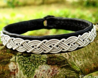 MIDGARD Sami bracelet, cuff for real vikings and shieldmaidens, handmade in black leather decorated with lapland pewter braid
