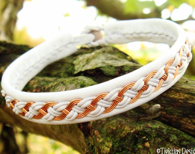 Nordic viking bracelet cuff, DRAUPNIR white wedding Sami bracelet with copper braid and antler closure