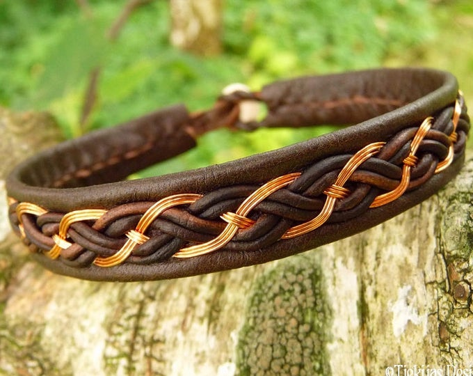 Sami viking copper and leather bracelet, cuff DRAUPNIR handcrafted in your size and 30 colors to choose from