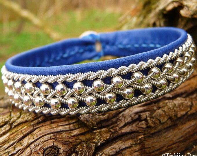 Sami Reindeer Bracelet, ROSKVA Swedish Blue Leather Viking Silver Cuff Authentic Sami Craft