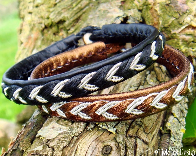 Sami bracelet, ODIN handmade Norse pagan jewelry in reindeer leather or lambskin, with pewter braid and antler