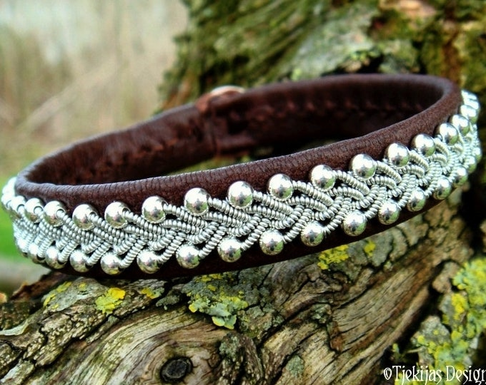 Viking jewelry, Swedish Sami bracelet, SKINFAXE in antique brown reindeer leather and pewter braided with sterling silver beads