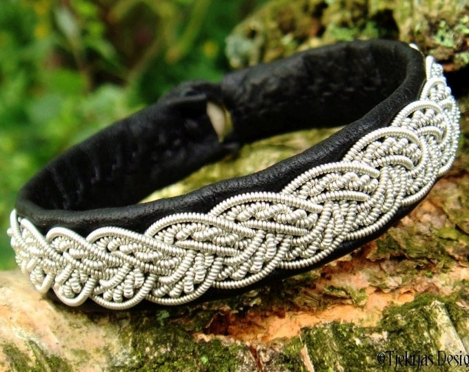 Sami bracelet, VIMUR viking wristband in black reindeer leather with pewter braid and antler closure