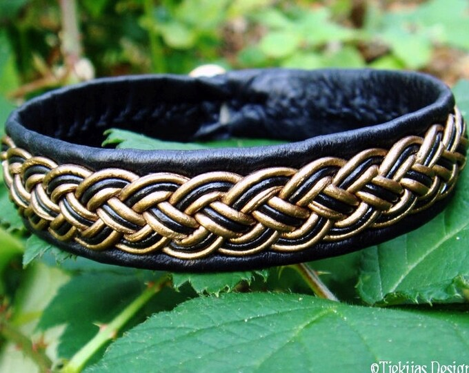 Sami bracelet in black and bronze leather, FREKI Nordic viking wristband, custom handmade in your colors and size