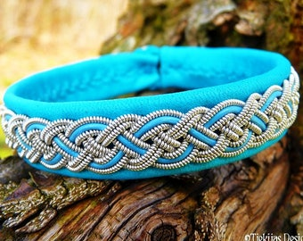 Viking Bracelet Cuff NIFLHEIM Sami Bracelet in Turquoise Leather decorated with Pewter Braid