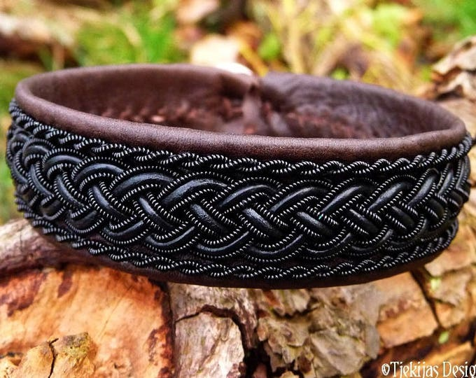 Viking Sami bracelet, GIMLE gothic cuff bangle, handcrafted with black wire and leather braid on antique brown reindeer leather
