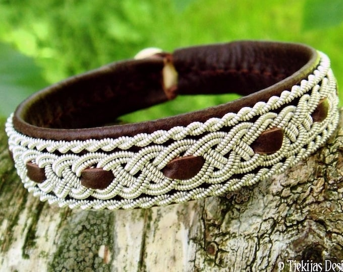 Sami bracelet, VANAHEIM brown leather viking wristband with pewter braid