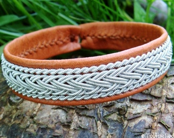 Handmade Piece of the North HEIDRUN Leather Viking Bracelet Unisex Cuff decorated with Pewter in traditional Sami Lapland style.