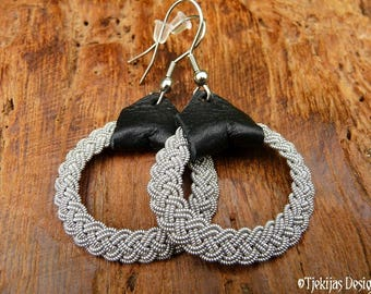 Viking earrings, ASGARD Lapland Sami dangle hoops, pewter braids and black reindeer leather, handmade Nordic spirit jewelry