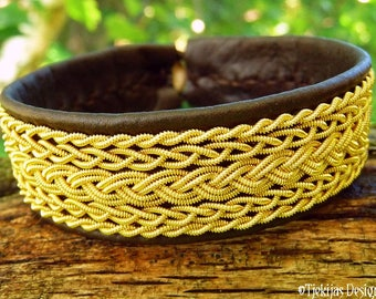 Handmade Sami bracelet, SKADI viking cuff with 14k gold filled braids on antique brown leather