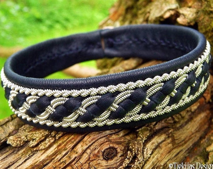 Sami viking bracelet, Norse FAFNIR cuff, custom handmade women and mens bracelet in navy blue reindeer leather