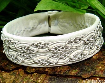 White leather viking cuff MUNINN, custom handmade Swedish pewter Sami bracelet