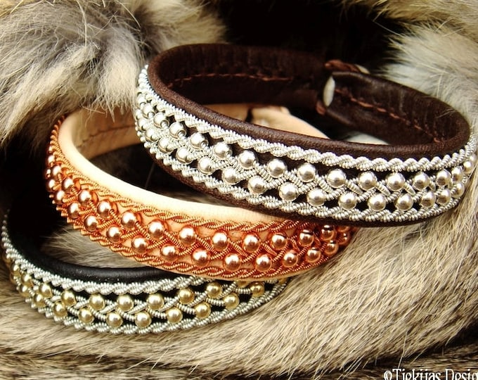 Sami Bracelet, ROSKVA Viking Bracelet Leather Cuff with Sterling silver beads in Pewter Braid