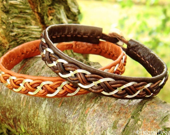 Shieldmaidens and vikings leather and sterling silver bracelet cuff, DRAUPNIR handmade Sami style jewelry