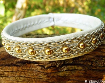 YDUN Swedish Sami Viking Bracelet Cuff in White Leather with 14K Gold filled beads and Tin Thread Braids - Custom Handmade Norse Jewelry